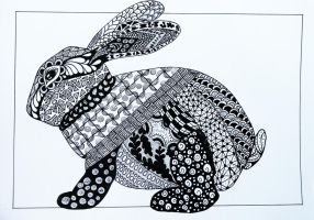 Rabbit Zentangle by Anbeads
