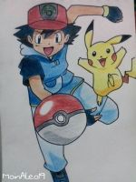 Ash Ketchum and Pikachu from Pokemon by JuneArtCraft19