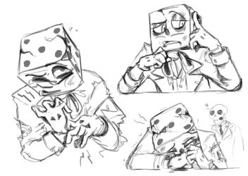 Cuphead doodle: post-game king dice by OceanHasAPen