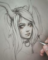 The Devil 78Tarot Mythical Line art Process by EnysGuerrero