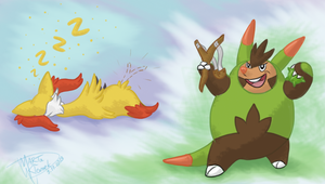 When Braixen sleeps Quilladin go nuts