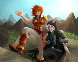 The dragonslayer and her thief buddy by GarnetDawn