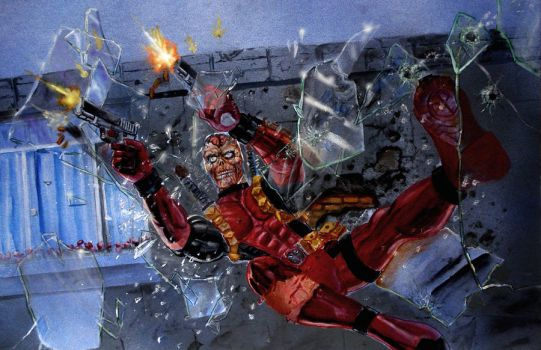 deadpool with guns blazing by keithid