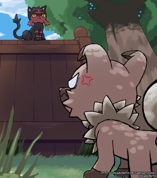 Rockruff and Litten by Dragonith
