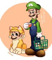 Cats Mario and Luigi by asumachimu