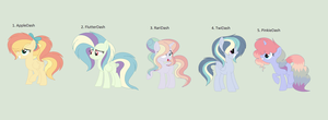 Rainbow Dash x Main five adopts (Open) by RoseLoverOfPastels