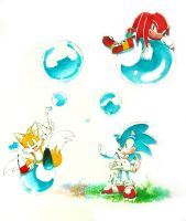 Sonic Tails and Knuckles by lonerurouni187