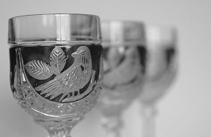 Wine Glasses with birds by LadyUrsula