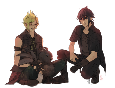 Chocobros and a Chocobo (Commission) by Bev-Nap