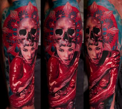 Colored Bloody Girl Tattoo by Remistattoo