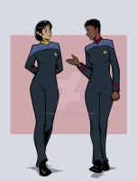 LtCmdr T'Lin and Captain Tryla Scott.. 2374 by StalinDC