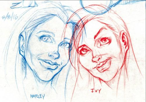 Harley  Ivy (unmasked portraits) by yomark