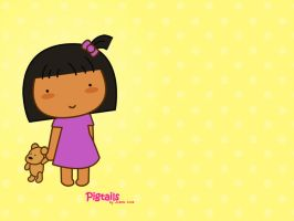 Pigtails: Me and my teddy by jazgirl