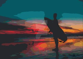 Beach Surfer Sunset STAMPED by cheriedesues