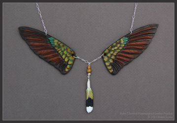 Ruby-Throated Hummingbird Wings -  Leather Pendant by windfalcon