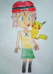 Serena and her Pikachu by SuperSmash6453