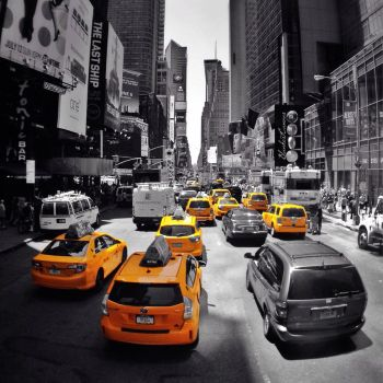 Yellow cabs as far as the eyes can see... by BlankestCanvas