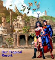 Superman and Wonder Woman in Themyscira by godstaff