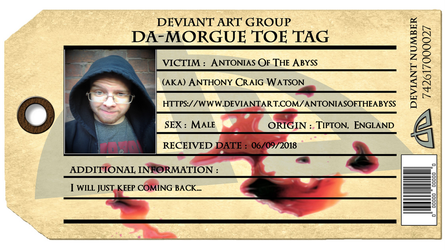 Deviant Art Group dA-Morgue Toe Tag by AntoniasOfTheAbyss