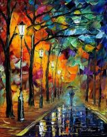Night Alley 2 by Leonid Afremov by Leonidafremov