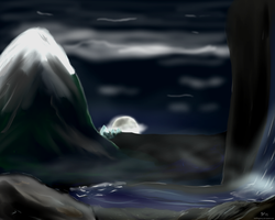 Moonset over Henneth Annun by HalflingPony