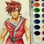 Watercolor Sketch: Kai from Ninjago (again...) by witch-girl-pilar