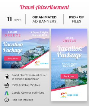 Travel and Tourism Animated GIF Ad Banners by romikalathiya