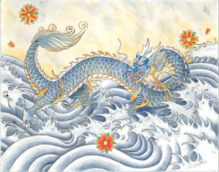 Blue dragon of the waves by DragonCid