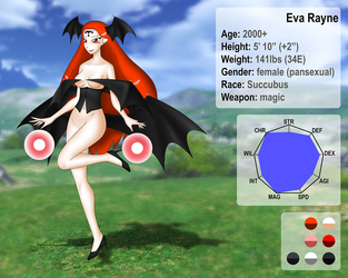 The Succubus Queen, Eva Rayne character sheet by Nakate