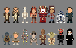 Star Wars Phantom Menace Characters 8 bit by LustriousCharming