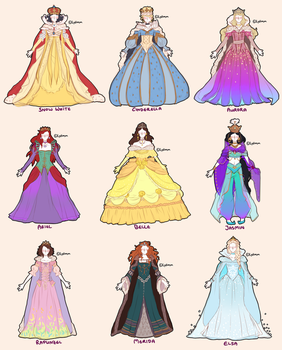 finished concept art - disney princesses as queens by Iydimm