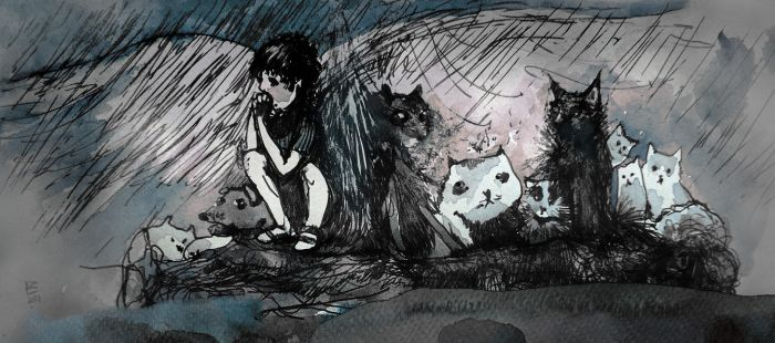 A rainy day with cats and dogs by Daywish