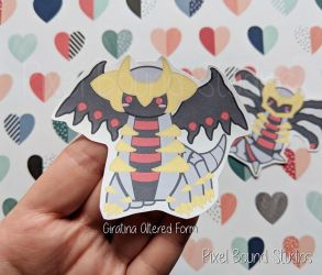 Chibi Giratina Altered Form Stickers and Magnets by pixelboundstudios