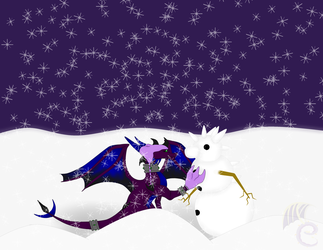 Voltara playing in the snow by SpyraDragoness