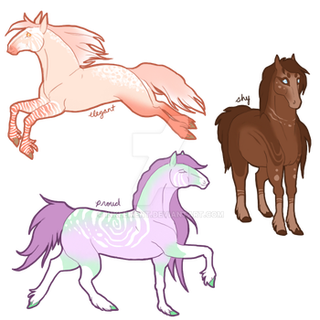 [$3 - OPEN 2/3] - [Candy Sketch Horses] - [Adopts] by Inklement
