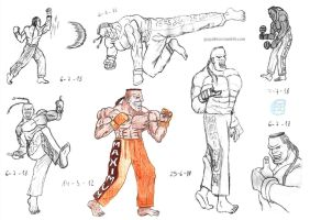 Street Fighter - Dee Jay sketches by Fractalico