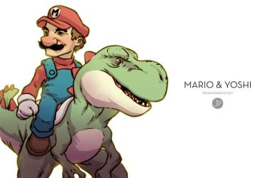 Mario and Yoshi by JakeParker