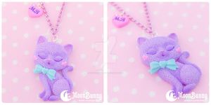 Ice cream kitten 2 Necklace by CuteMoonbunny