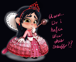 Vanellope - Aww, Do I Hafta Wear This Stuff? by artistsncoffeeshops