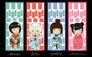 The Kokeshi Sisters  FREEBIE by OurDestinyDesigns