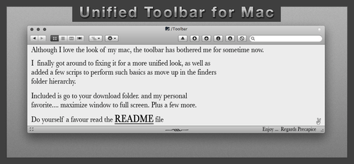 Unified Finder Toolbar by IanWoods