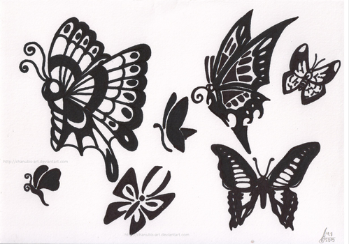 Butterflies tattoo Practice 2 by Chanubis-Art