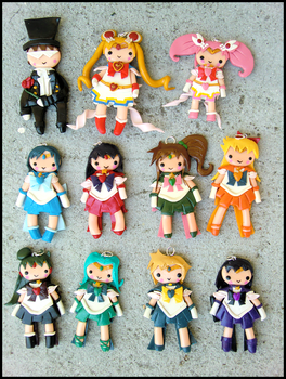 Sailor Senshi Charms by GrandmaThunderpants