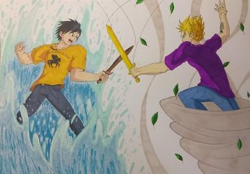 Percy Jackson vs Jason Grace by ShadowDragon6114