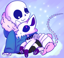 Sans and Ghosti by X-BlackPearl-X