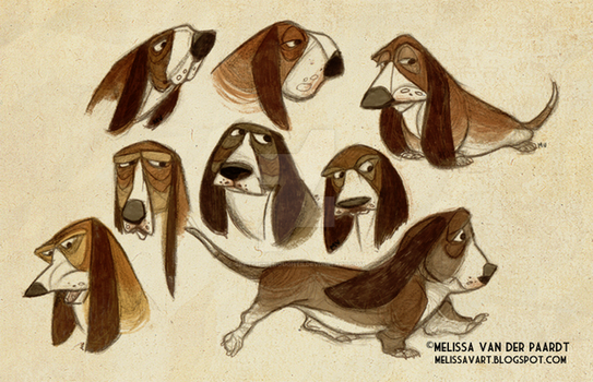 Basset Hounds by sketchinthoughts