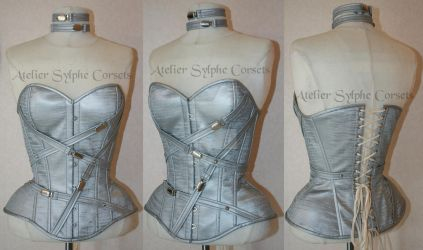 Silver shiny PVC overbust corset with straps by AtelierSylpheCorsets