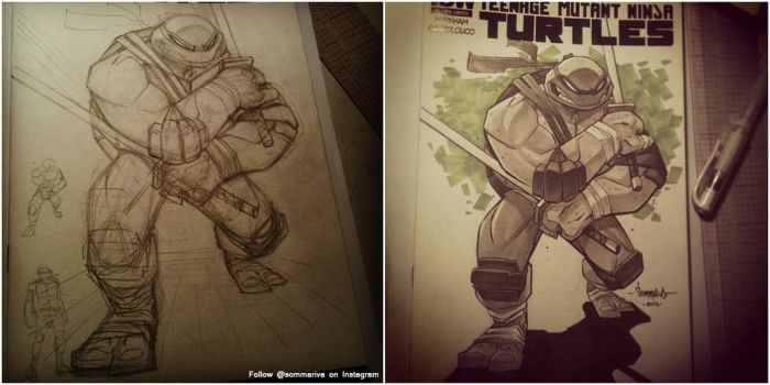 TMNT Leonardo Sketch Cover by Red-J