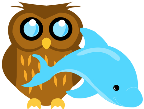 Owl and Dolphin by slushiburger