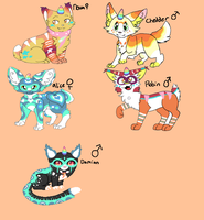 Unicat Herd So Far (breeding open) by skyfeather0066